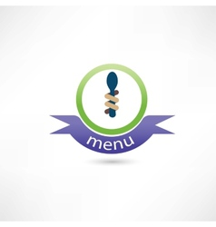 Spoon and fork around it for menu vector image