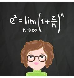 Cute cartoon smart girl and math formula vector