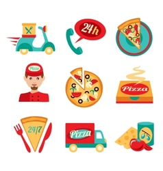 Pizza fast delivery icons set vector