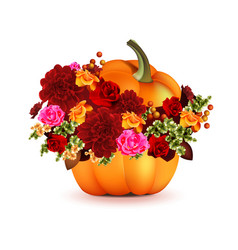 Pumpkin with flowers vector