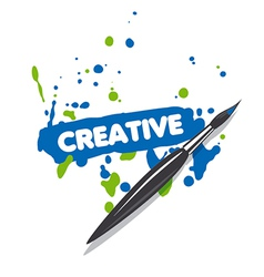 Logo brush and blue and green spray paint vector
