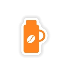 Icon sticker realistic design on paper thermos vector