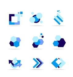 Blue shape logo icon set vector