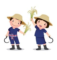 Profession costume of thai farmer for kids vector