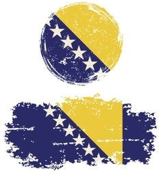 Bosnia and herzegovina round square grunge flags vector