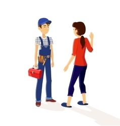 Character plumber and housewives vector