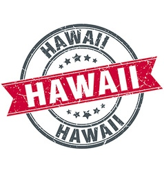 Hawaii red round grunge vintage ribbon stamp vector
