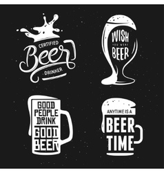 Beer related typography set vintage vector