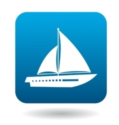 Sailing vessel with two sails icon in flat style vector