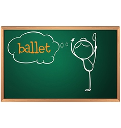 A board with a sketch of a ballet dancer vector image vector image