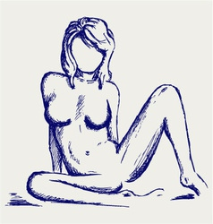 Beautiful young nude woman vector image vector image