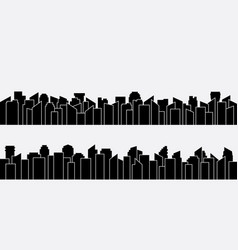 black city silhouette panorama set design vector image