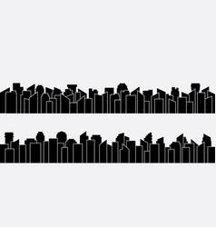 black city silhouette panorama set design vector image