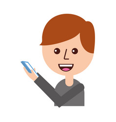 cartoon boy holding mobile phone device vector image