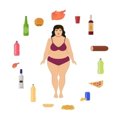 cartoon fat woman and unhealthy food vector image
