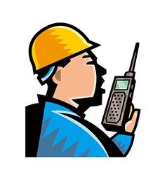 Close-up of man holding phone vector image