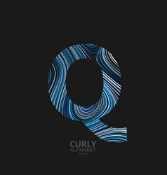 Curly textured letter q vector
