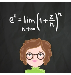 Cute cartoon smart girl and math formula vector