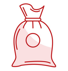 Fabric sack isolated icon vector
