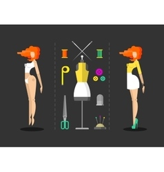 Fashion and sewing hand work vector image