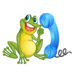 Frog with phone receiver vector