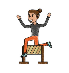 girl jumping over hurdle vector image