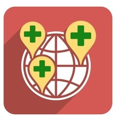 Global Clinic Company Flat Rounded Square Icon vector image