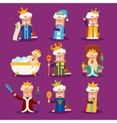 King cartoon set vector