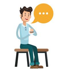 Man sit message chatting social media vector