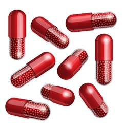 Medical red capsule with granules vector