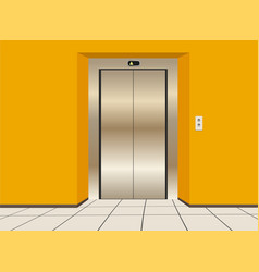 Modern elevator with closed doors vector