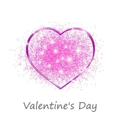 Pink heart in a gift on Valentines day vector image vector image