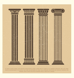 poster with ancient columns set vector image vector image