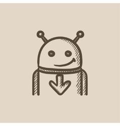 Robot with arrow down sketch icon vector image vector image