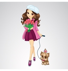 Romantic Girl Hold Spring Flowers vector image vector image