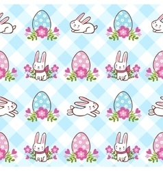 Seamless pattern with Easter bunnies and eggs vector image