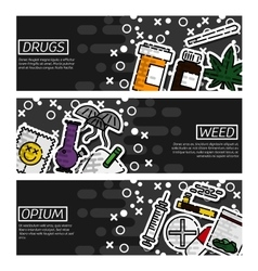 Set of Horizontal Banners about drugs vector image