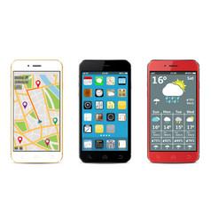 Smartphones set with widgets vector