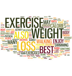 The best exercise for weight loss text background vector