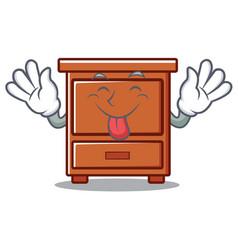 Tongue out wooden drawer mascot cartoon vector