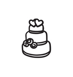 Wedding cake sketch icon vector
