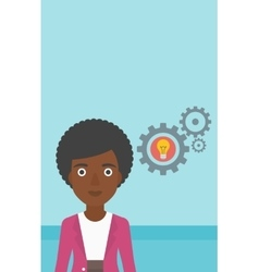 Woman with bulb and gears vector image vector image