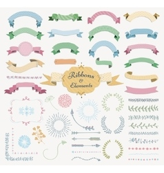 Colorful Hand Drawn Design Elements and vector image