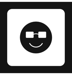 Smiling emoticon in sunglasses icon simple style vector image