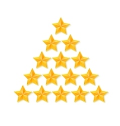 Set of rating stars gold five-pointed in the vector