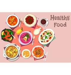 Healthy lunch with soup and salad dishes icon vector