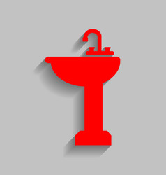 Bathroom sink sign  red icon with soft vector