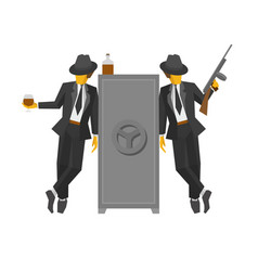 Two gangsters in suits standing near the safe vector