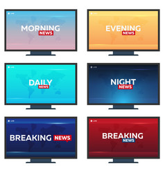 Set of mass media morning night daily and vector
