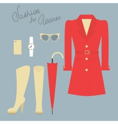 Fashion set of elegant female clothes for autumn vector